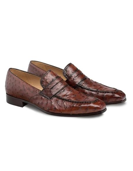 Mezlan Brand Mezlan Mens Dress Shoes Sale Mens Rich Brandy Color Ostrich Skin Shoes