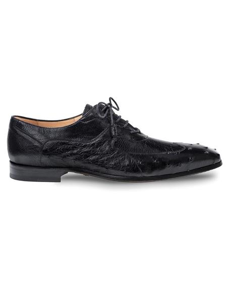 Mezlan Brand Mezlan Men's Dress Shoes Sale Men's Black Ostrich Quill and Ostrich Leg Shoes