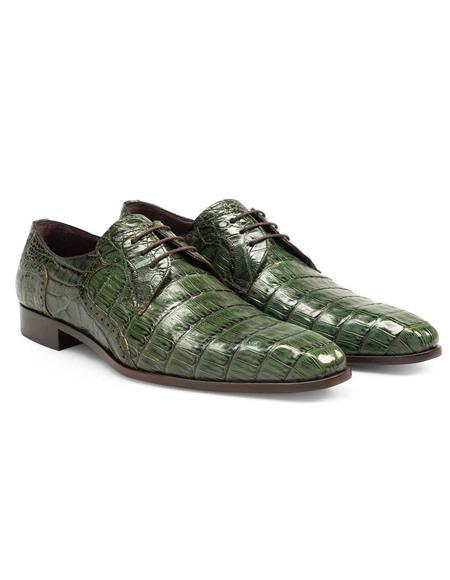 Mens Green Dress Shoes Mezlan Brand Mezlan Men's Dress Shoes Sale Men's Authentic Olive Green Crocodile Skin Shoes