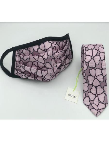Protective Face Mask And Matching Tie Set Pink