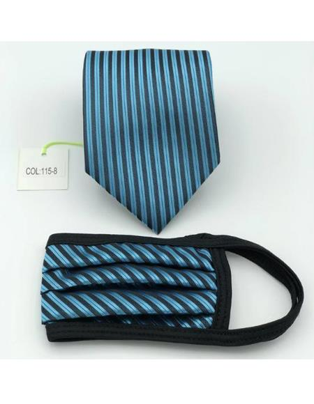 Protective Face Mask And Matching Tie Set Turquoise