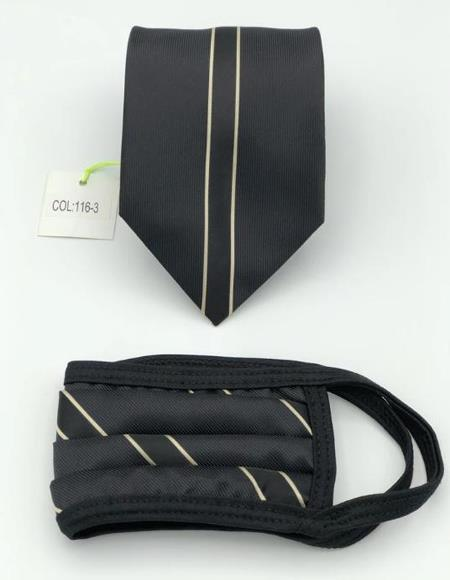 Protective Face Mask And Matching Tie Set Gold