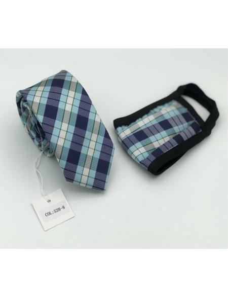 Protective Face Mask And Matching Tie Set Blue Plaid