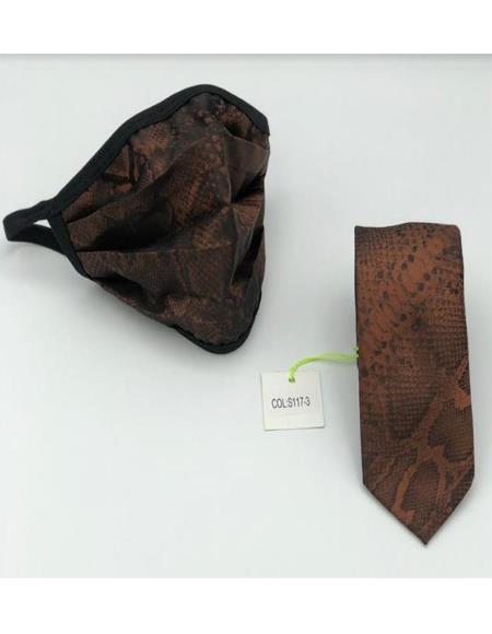 Protective Face Mask And Matching Tie Set Brown