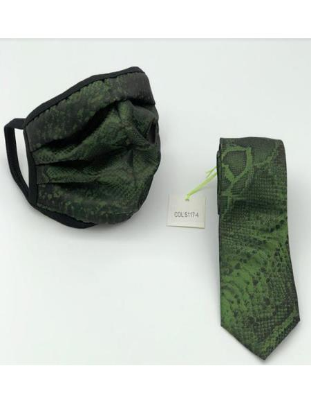 Protective Face Mask And Matching Tie Set Green
