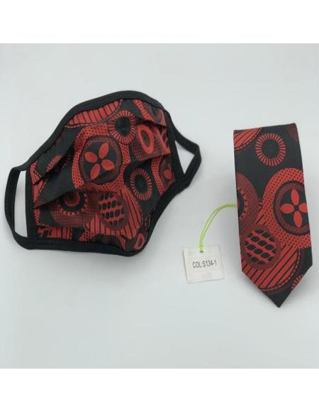 Protective Face Mask And Matching Tie Set Red