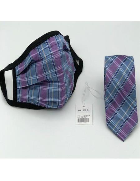 Protective Face Mask And Matching Tie Set Purple ~ Blue Plaid