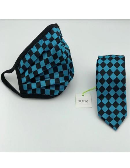 Protective Face Mask And Matching Tie Set Turquoise Checkered