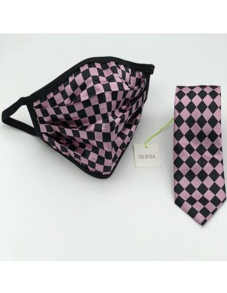 Pink Checkered Micro Fiber Protective Face Mask