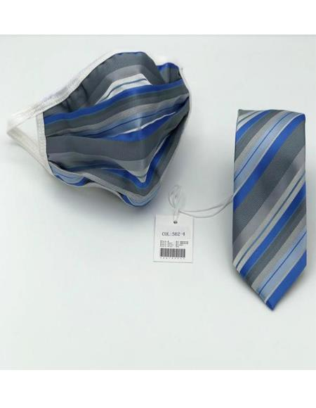 Protective Face Mask And Matching Tie Set Grey ~ Blue Stripes
