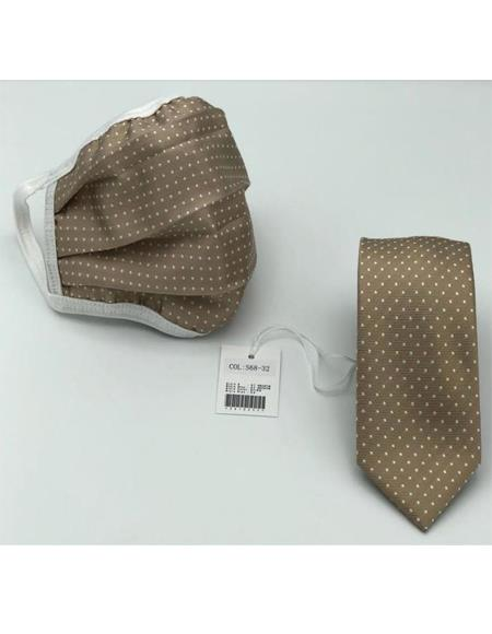 Protective Face Mask And Matching Tie Set Champagne Gold Dot