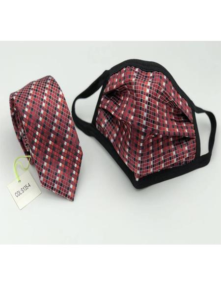 Protective Face Mask And Matching Tie Set Burgundy Checkered