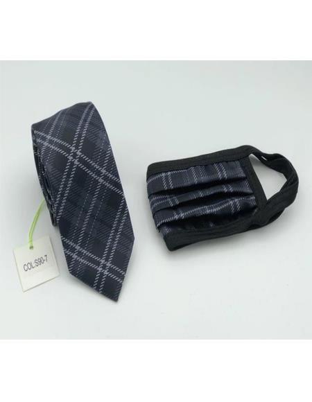 Protective Face Mask And Matching Tie Set Black Plaid