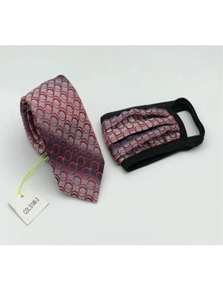 Protective Face Mask And Matching Tie Set Red Circle
