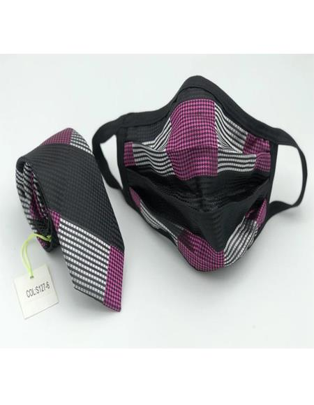 Protective Face Mask And Matching Tie Set Fuchsia Checkered