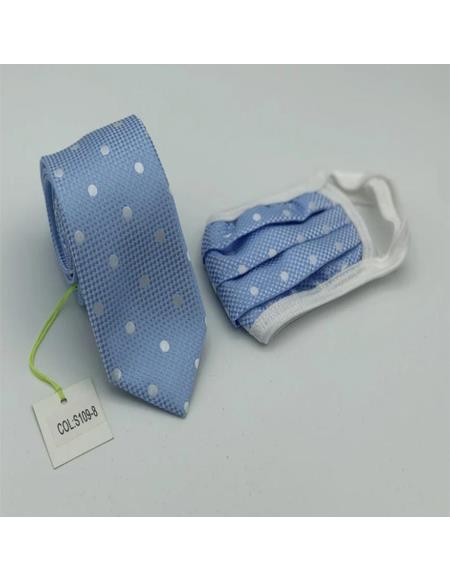 Protective Face Mask and Matching Tie Set Blue Dot