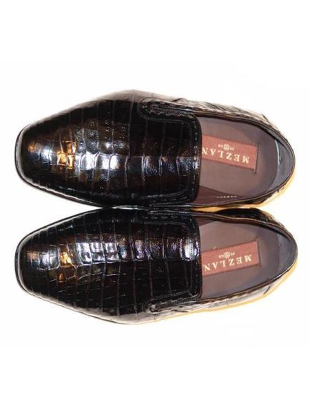 Mezlan Brand Mezlan Men's Dress Shoes Sale Men's Mezlan Alligator Loafer Black Shoes