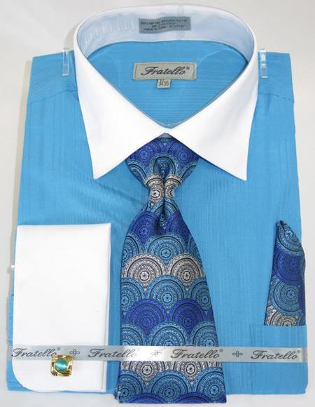 Turquoise Blue Colorful Men's Dress Shirt