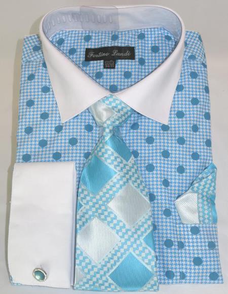 Turquoise Blue Colorful Men's Dress Shirt