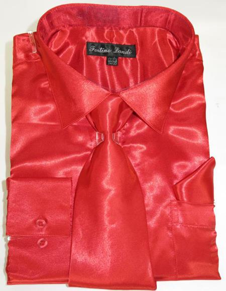 Fire Red Colorful Men's Dress Shirt