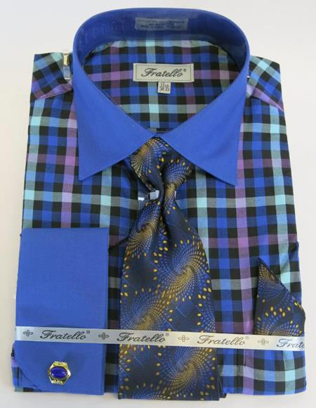 Royal Blue Colorful Men's Dress Shirt