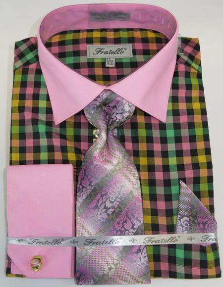Rose Pink Colorful Men's Dress Shirt