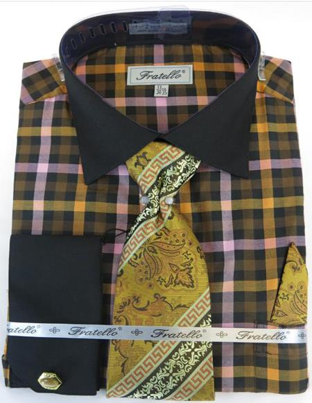 Black Taupe Colorful Men's Dress Shirt