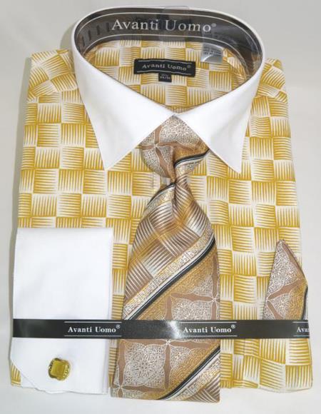 Honey Gold Colorful Men's Dress Shirt