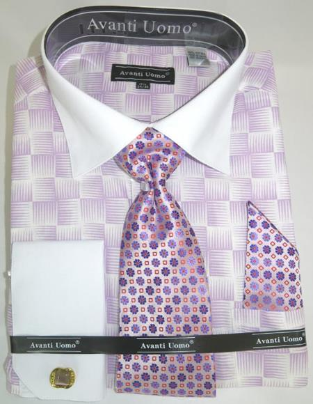 Mens Fashion Dress Shirts and Ties Lilac Colorful Men's Dress Shirt