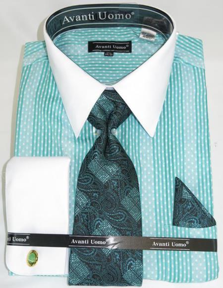 Mens Fashion Dress Shirts and Ties Mint Colorful Men's Dress Shirt