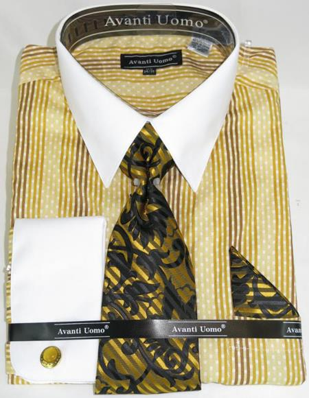 Mens Fashion Dress Shirts and Ties Mustard Colorful Men's Dress Shirt