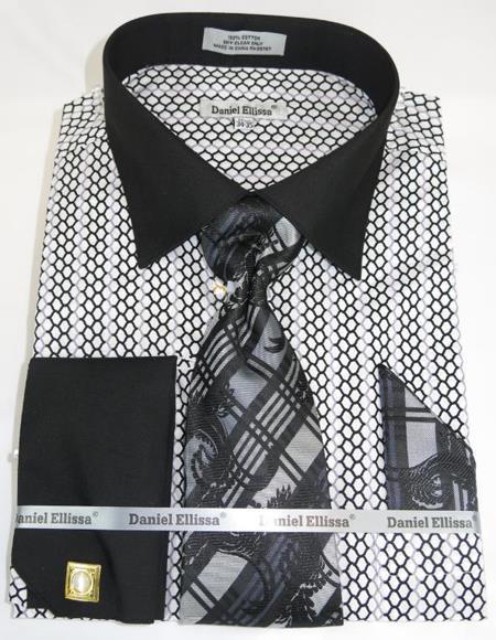 Mens Fashion Dress Shirts and Ties Black White Multi Colorful Men's Dress Shirt