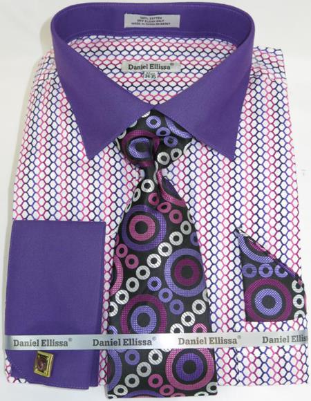 Mens Fashion Dress Shirts and Ties Purple Multi Colorful Men's Dress Shirt