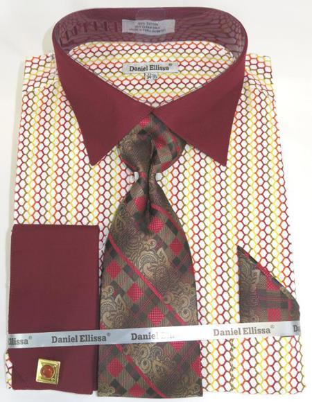 Mens Fashion Dress Shirts and Ties Burgundy Multi Colorful Men's Dress Shirt