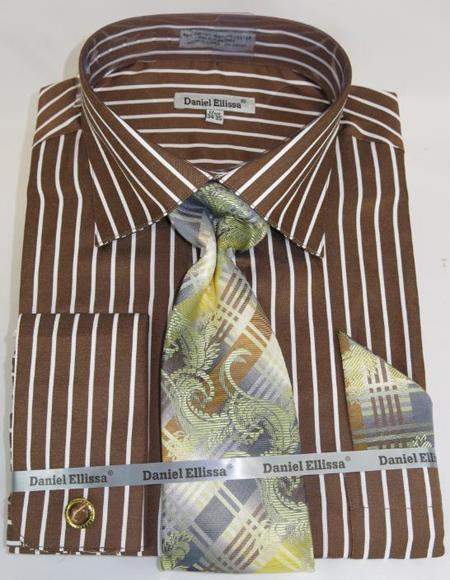 Mens Fashion Dress Shirts and Ties Brown PinStripe Colorful Men's Dress Shirt