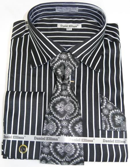 Mens Fashion Dress Shirts and Ties Black Pinstripe Colorful Men's Dress Shirt