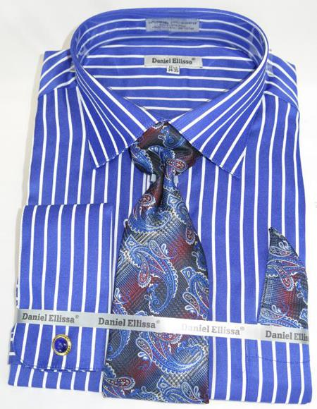 Mens Fashion Dress Shirts and Ties Royal Pinstripe Colorful Men's Dress Shirt