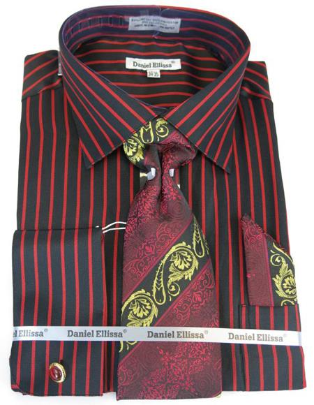Mens Fashion Dress Shirts and Ties Black-Red Pinstripe Colorful Men's Dress Shirt