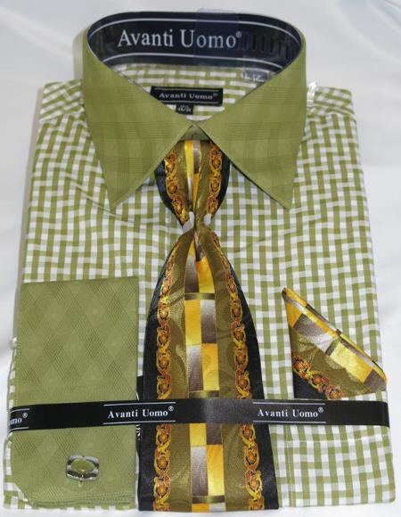 Mens Fashion Dress Shirts and Ties Olive Green Colorful Men's Dress Shirt