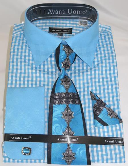 Mens Fashion Dress Shirts and Ties Aqua Blue Colorful Men's Dress Shirt