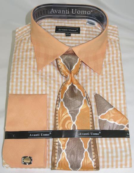 Mens Fashion Dress Shirts and Ties Peach Colorful Men's Dress Shirt