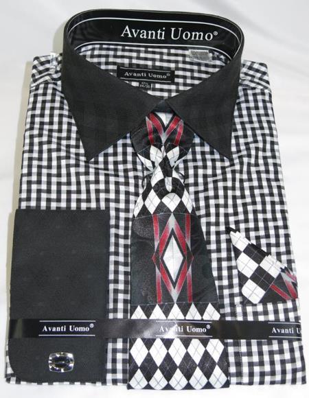 Mens Fashion Dress Shirts and Ties Black White Colorful Men's Dress Shirt