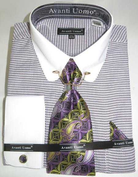 Mens Fashion Dress Shirts and Ties Purple Micro Diamond Colorful Men's Dress Shirt