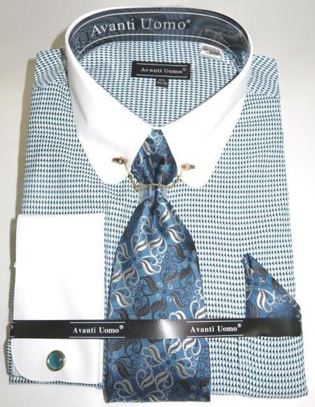 Mens Fashion Dress Shirts and Ties Turquoise Micro Diamond Colorful Men's Dress Shirt