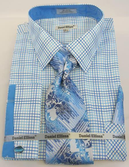 Mens Fashion Dress Shirts and Ties Turquoise Blue Colorful Men's Dress Shirt