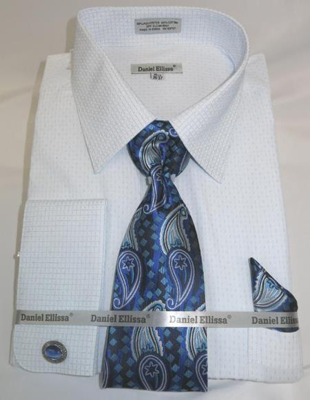 Mens Fashion Dress Shirts and Ties Blue Colorful Men's Dress Shirt