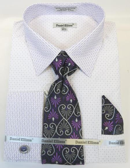 Mens Fashion Dress Shirts and Ties Purple Colorful Men's Dress Shirt