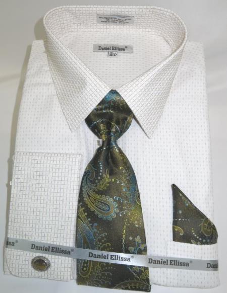 Mens Fashion Dress Shirts and Ties Beige Colorful Men's Dress Shirt