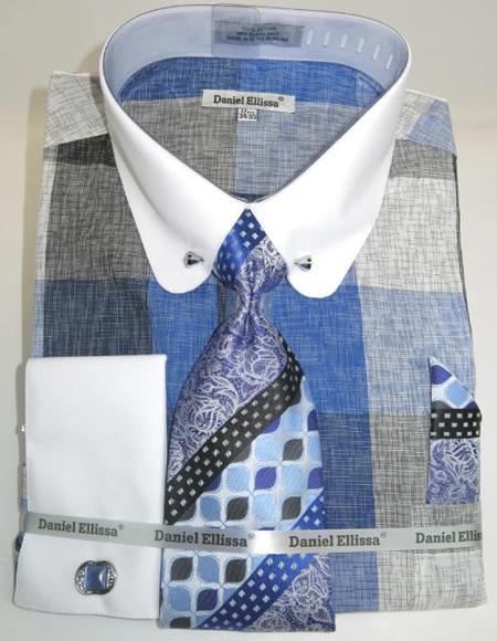 Mens Fashion Dress Shirts and Ties Powder Blue Colorful Men's Dress Shirt
