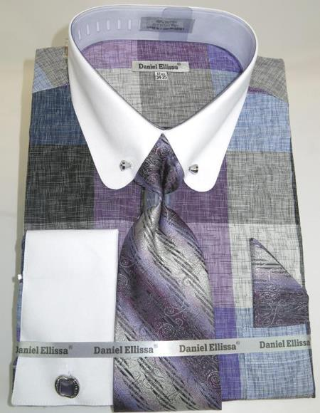 Mens Fashion Dress Shirts and Ties Lavender Colorful Men's Dress Shirt